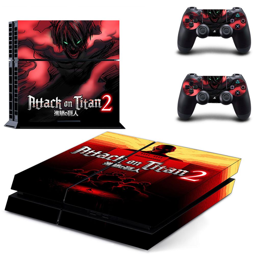 Attack On Titan 2 PS4 Stickers Vinyl PS 4 Skin Sticker Play station 4 Decal Pegatinas For PlayStation 4 console and 2 controller image