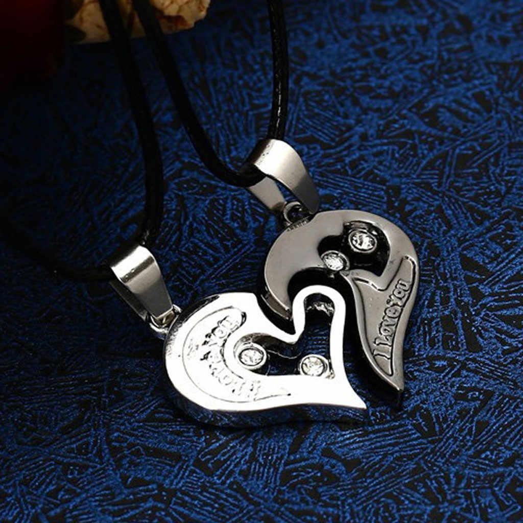 Colliers bijoux je t'aime chaîne en acier inoxydable coeur amour colliers pour Couples appariés collares moda collier personnalisé