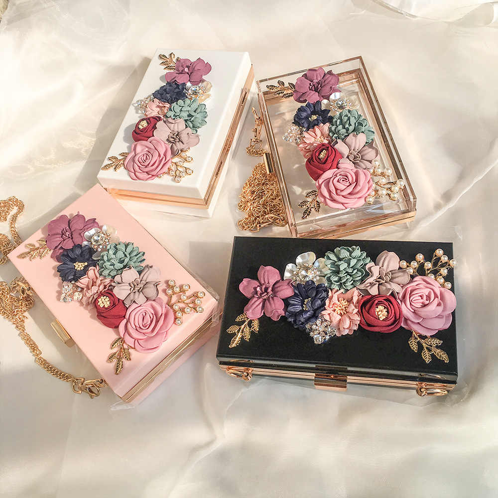 Women Acrylic Flower Clutches Crossbody Purse Evening Bags Chain Strap For Wedding Prom Banquet Ideal-gift Golden Frame