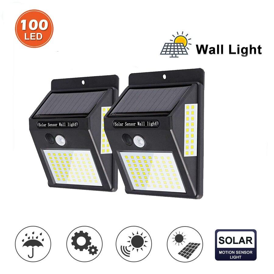 100 LED Solar Light Garden Solar Lamp PIR Motion Sensor Lamp Powered By Sunlight Waterproof For Outdoor Wall Decoration