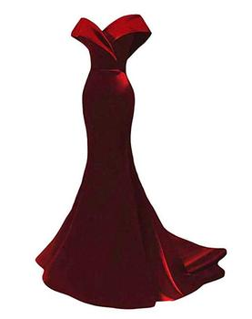 Real Photos Burgundy Mermaid Prom Dresses for African Black Girls Off Shoulder Backless Satin Party Evening Gowns 1