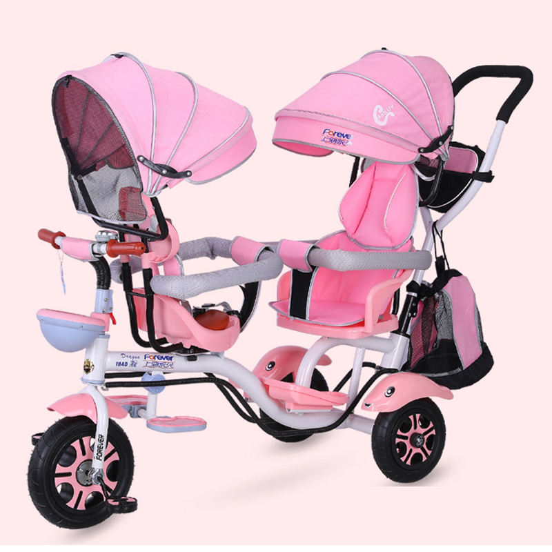 4 in 1 Twin Baby Stroller Children's Tricycle Double Seat Bicycle Baby Infant Child TrolleyTravel Umbrella Carriage1-6Y
