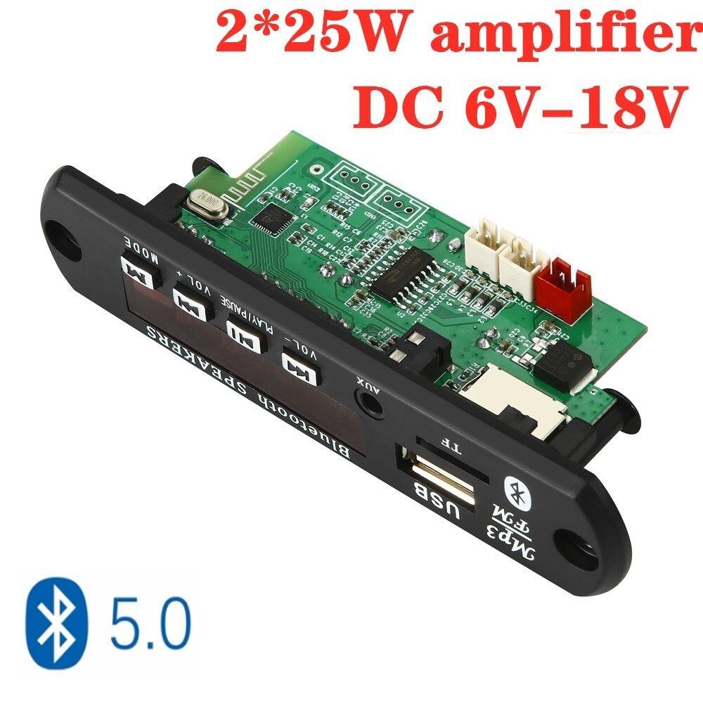 ARuiMei 2*25 Вт усилитель MP3 плеер декодер плата 12 в Bluetooth 5,0 50 Вт автомобильный FM радио модуль поддержка TF USB AUX