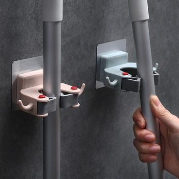 Wall Hook Adhesive  Mounted Plastic Strong Mop Holder Brush Broom Hanger Kitchen Bathroom Accessories Organizer - discount item  32% OFF Home Storage & Organization