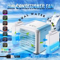 Mini aire acondicionado portátil purificador humidificador USB 7 colores Luz de escritorio ventilador enfriador de aire con 2 tanques de agua para el hogar