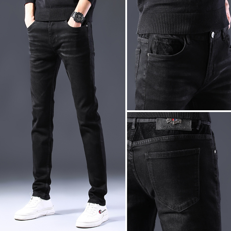 Black Jeans Men's Spring And Summer-Style Thin Cool Back Pocket Skinny Handsome Teenager Casual Long Pants Fashion