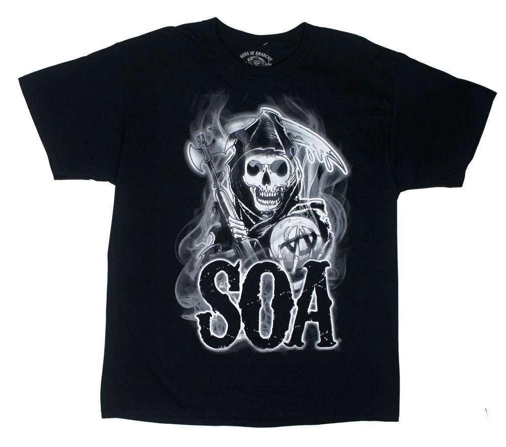 Sons of Anarchy Charming Reaper Gun Original Official TV Black Mens T-shirt