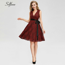 Sexy Short Women Dress A-Line V-Neck Bow Shshes Above Knee Ladies Sweet Streetwear Elegant Red Party Vestidos Mujer 2019