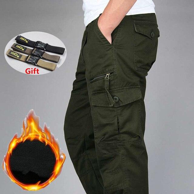 ผู้ชายฤดูหนาวหนาคู่ชั้นขนแกะกองทัพทหาร Camouflage ยุทธวิธีผ้าฝ้ายกางเกงชายกางเกงกระโปรง Cargo