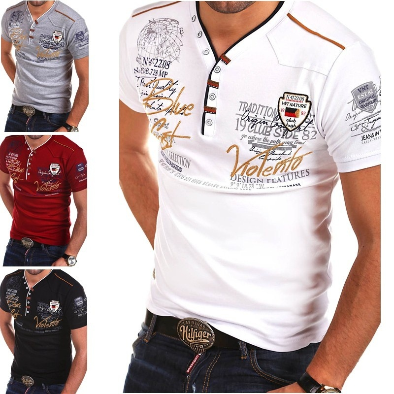 Zogaa Brand 2020 Summer Mens Shirt Short Sleeve Fashion V-neck Cotton Shirts Tops Casual Slim Fit Print Shirts For Men Clothing