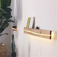 Creative Loft Retro Wooden Led Wall Lamp Vintage Walnut Oak Wood Storage Bedroom Coffee Shop Wall Sconce Lights