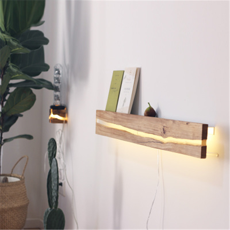 Creative Loft Retro Wooden Led <font><b>Wall</b></font> <font><b>Lamp</b></font> <font><b>Vintage</b></font> Walnut Oak <font><b>Wood</b></font> Storage Bedroom Coffee Shop <font><b>Wall</b></font> Sconce Lights image