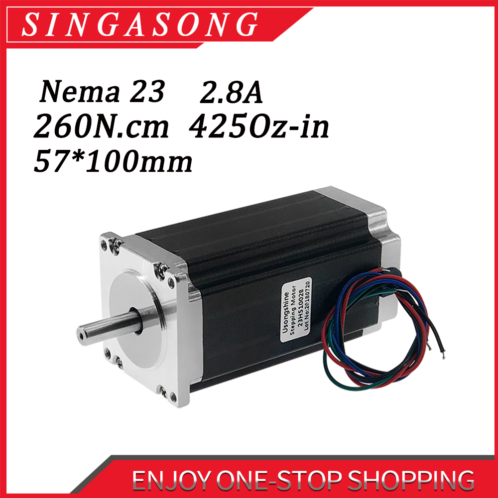 Nema 23  Single Shaft Stepper Motor in 2.8A High Torque 4 Wires CNC 3D Printer