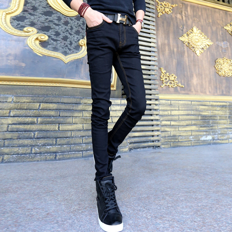 Spring And Autumn Teenager Tight-Fit Skinny Pencil Pants Men Korean-style Slim Fit Jeans Elasticity Tight Trousers