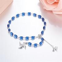 Waterdrop Candy Crystal Beaded Darts Charm Bracelet Bule Gem Stones 925 Sterling Silver Boomerang Adjustable Bracelet For Women