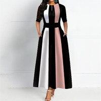 Round Neck Color Block Vintage A Line Women Maxi Dress Elegant Female Retro Striped Dress Office Long 2019 Autumn Party Robe 2XL