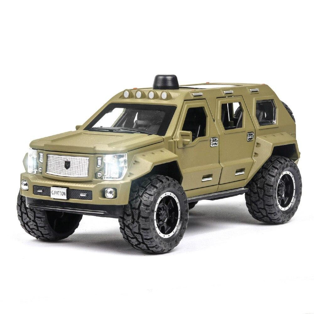 игрушки для детей Simulation 1:24 George Patton Children's Car Model Open Doors Alloy Model Car Pull Back Sound Light  Boys Toys