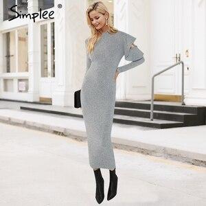 Image 1 - Simplee Sexy knitted long sweater dress women Ruffle sleeve elastic bodycon winter dress ukraine Christmas female club vestidos