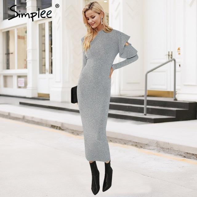 Simplee Sexy knitted long sweater dress women Ruffle sleeve elastic bodycon winter dress ukraine Christmas female club vestidos