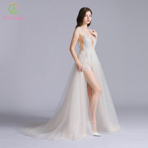 Image 4 - SSYFashion New Sexy Long Evening Dress Deep V neck Sleeveless Backless Lace Flower Beach Prom Formal Gown Vestido De Fiesta