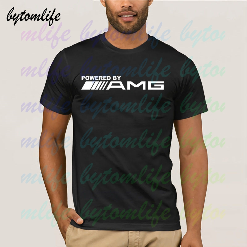Powered By Amg Logo T-shirt Summer Print T Shirt Clothes Popular Shirt Cotton Tees Amazing Short Sleeve Unique Men Tops