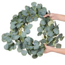 Düğün dekorasyon yapay bitkiler yeşil okaliptüs sarmaşıklar Garland yapay sahte bitkiler Ivy çelenk duvar dekor dikey bahçe