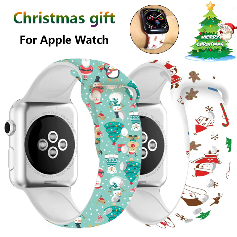 Strap For Apple Watch Band 5 4 44mm 40mm Christmas Gift Soft Silicone Floral Printed Wrist Belt IWatch 5 4 3 38mm 42mm Watchband