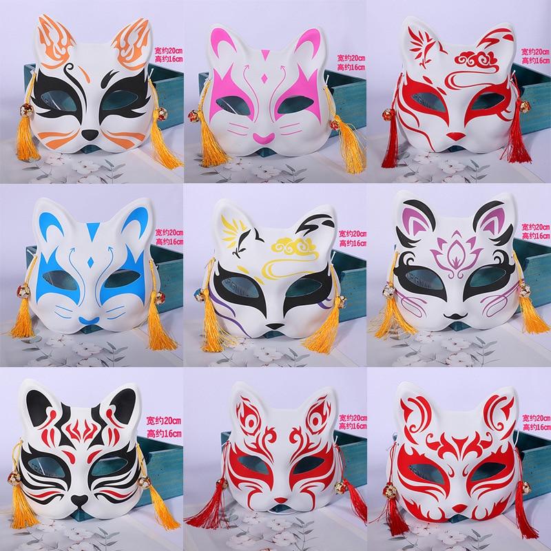 Demon Slayer Kimetsu No Yaiba Cosplay Fox Mask Prop Christmas Kamado Tanjirou Nezuko PVC Plastic Half Face Mask
