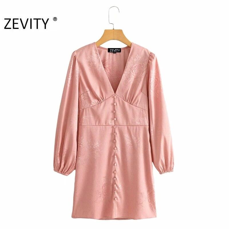ZEVITY Women Vintage sexy deep v neck buckles decoration slim mini dress Ladies lantern sleeve Vestido Chic retro Dresses DS4318