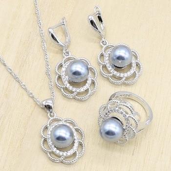 Gris perla de plata nupcial Juegos de joyas para mujer pendientes anillos colgante collar cumpleaños regalo de boda