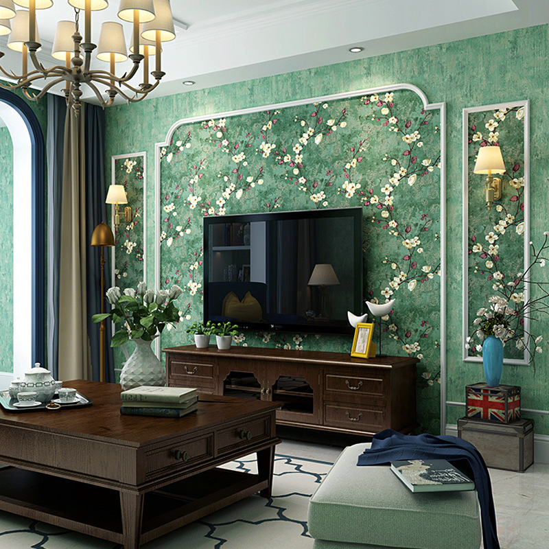 American-Style Pastoral Style Wallpaper Bedroom Retro Nostalgic Village Style Dark Green Living Room AB Version Of TV Backdrop W