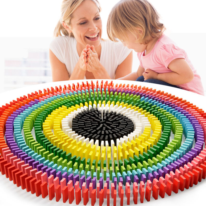 120pcs Lot Board Game For Kids Gift Wooden Domino Set Non-toxic Green Painting Children Toys Wooden Toys Dominos