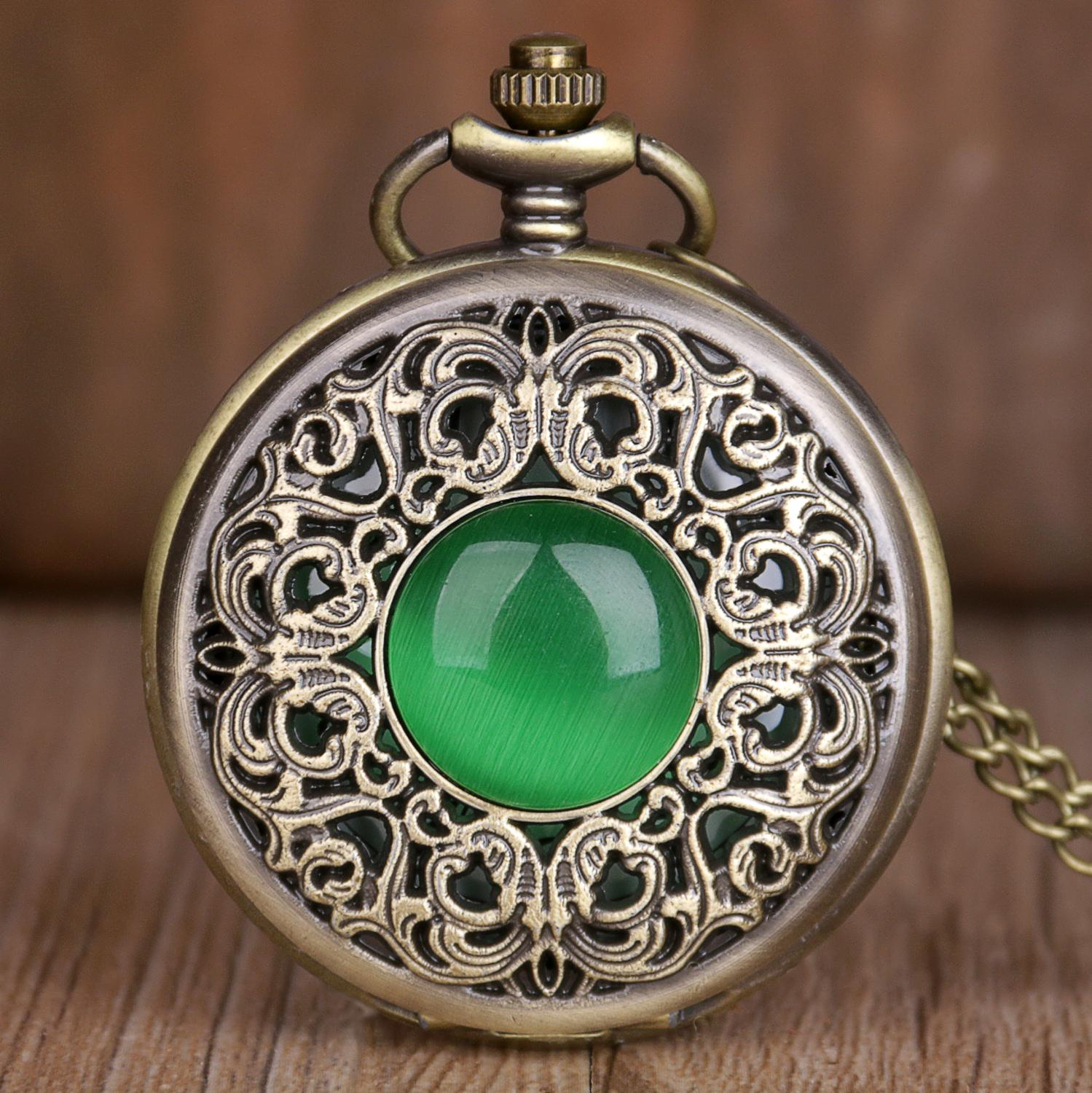 New Vintage Pocket Watches Green Crystal Emerald Imitation Stone Design Quartz Pocket Watches Necklace Chain For Mens Womens