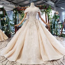 HTL733 boho wedding dress vintage high neck cape sleeve crystal ball gown bridal dress wedding gown with mantle vestido de noiva(China)