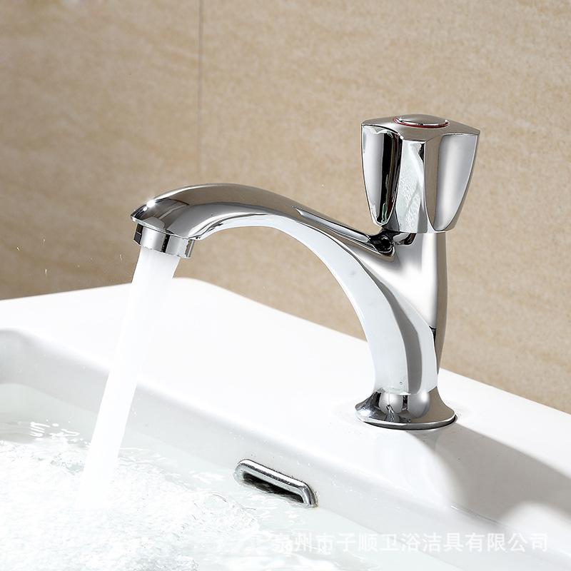 Sub-Shun Bathroom Sanitary Ware Plumbing Hardware Washbasin Square Cold Water Faucet Sink Basin Faucet Manufacturers Wholesale
