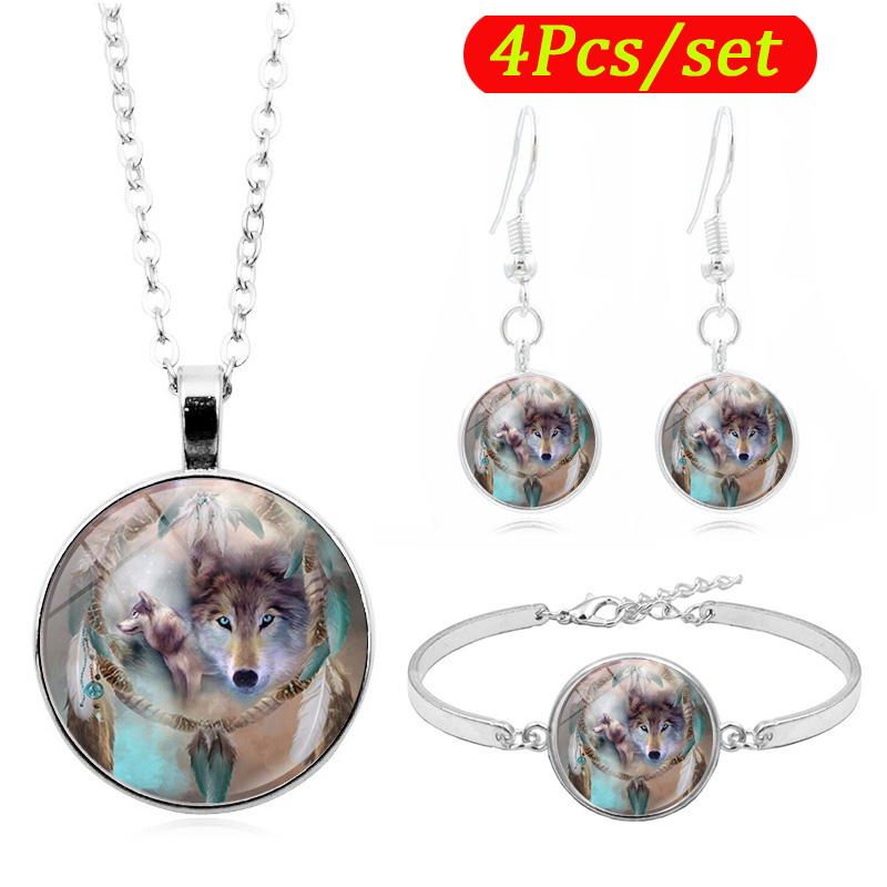 Dreamcatcher Wolf Photo Glass Cabochon Fashion Jewelry Set Necklace Bracelet Earring Jewelry Sets for Women
