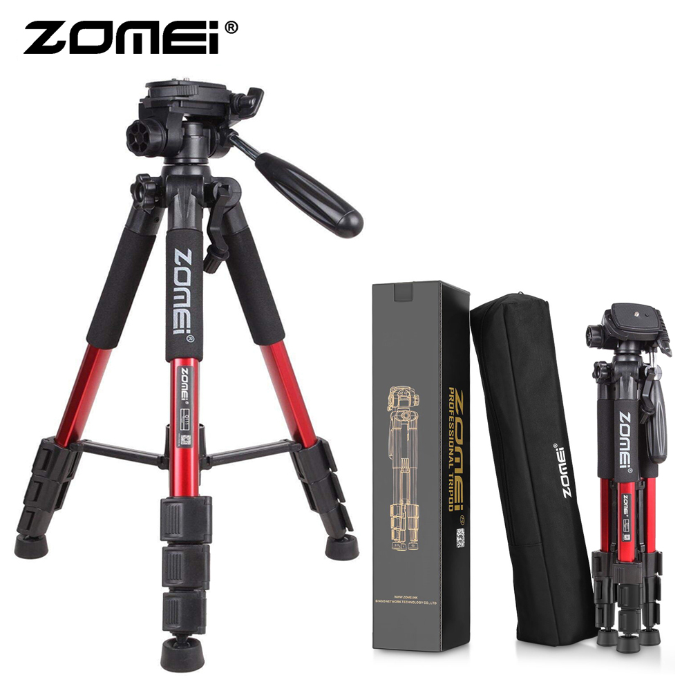 Zomei Red Q111 Lightweight Tripod Professional Portable Travel Camera Stand With Pan Head Carry Bag For SLR DSLR Digital Camera