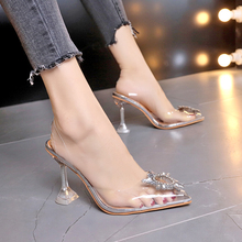 New Summer Transparent Sandals Women Women Elegant Sky High Heels Bling Crystal