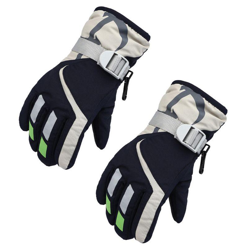Children Boys Girls Waterproof Winter Snow Ski Gloves Thicken Lining Warm Outdoor Riding Windproof Anti-Slip Mittens With Buckle