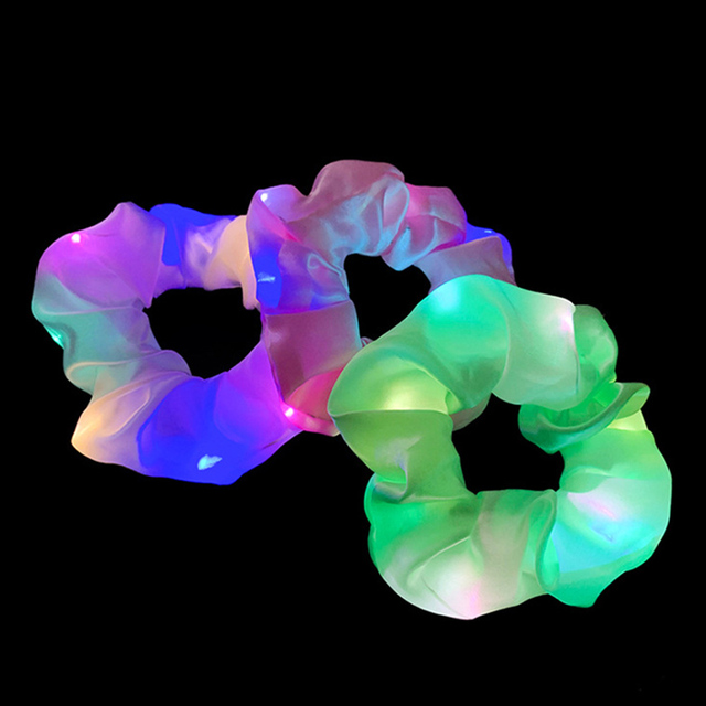 2020 New Arrival Girls LED Luminous Scrunchies Hairband Ponytail Holder Headwear Elastic Hair Bands Solid Color Hair Accessories 2