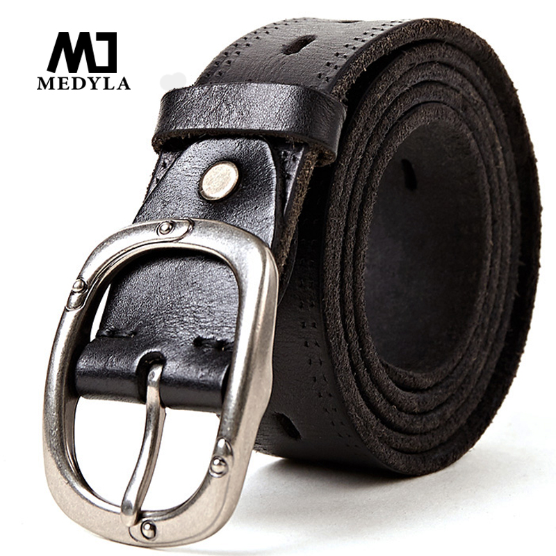 MEDYLA Rindsledergürtel Vintage Schnalle Entworfen Oberer echter Ledergürtel Hochwertige Kummerbunds Retro Geschenke für Jeans