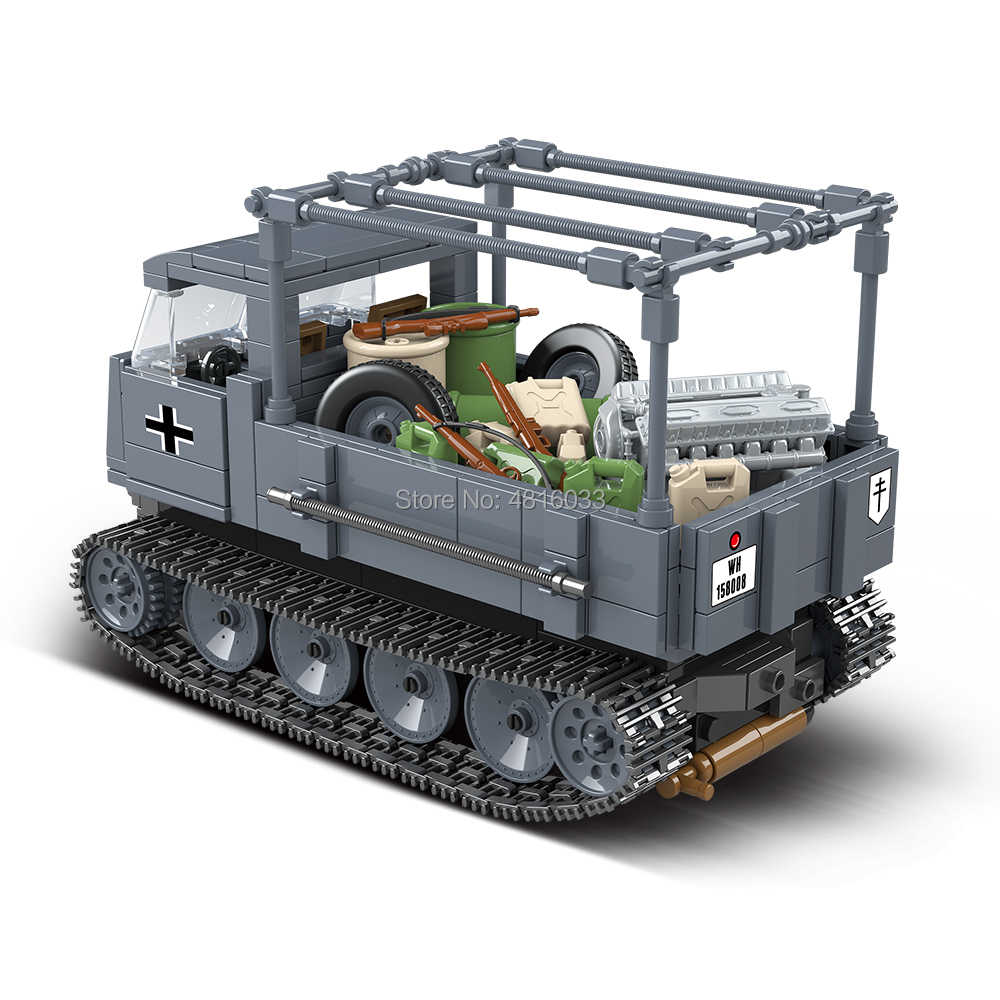 Army World War II German Half Tracked armored vehicle Compatible legoingly Military Vehicle Building Blocks Kids Toys For Boy