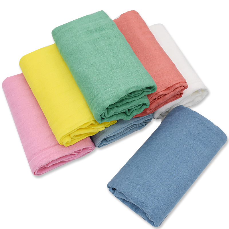 120x120cm Bamboo Cotton Muslin Baby Swaddle Blanket Solid Color Newborn Diaper Accessories Swaddle Wrap Baby Bedding Bath Towel