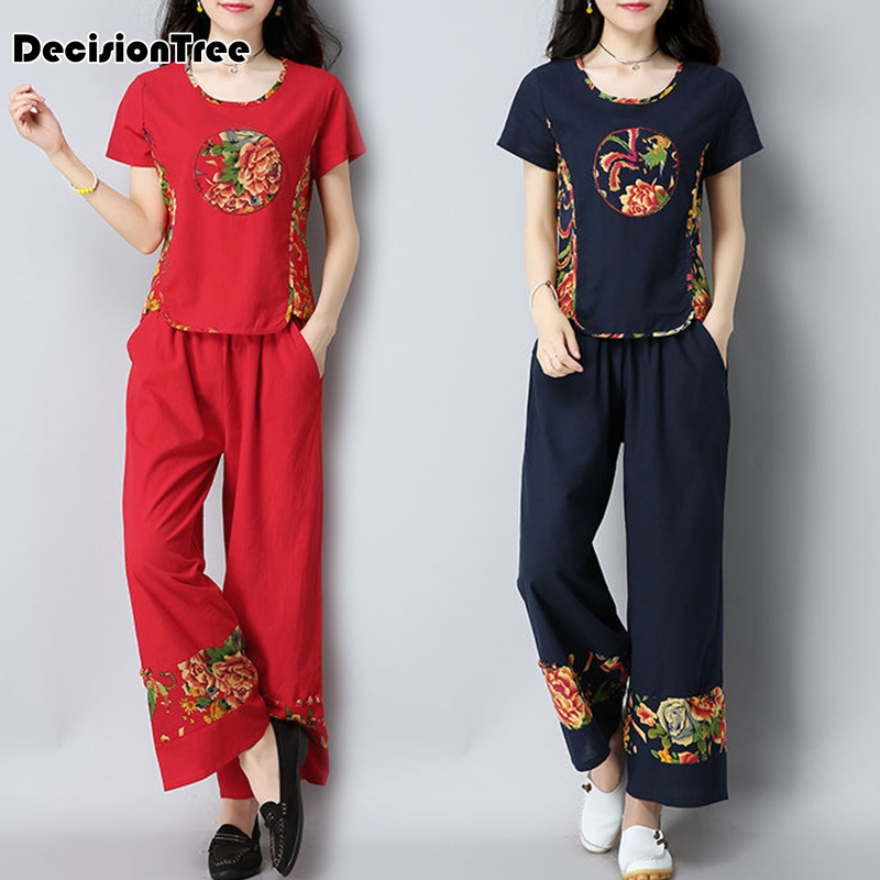 2020 Tang Suit Chinese Style Shirt+pants Traditional Chinese Clothing For Women Vintage Long Linen Hanfu Chinese Set