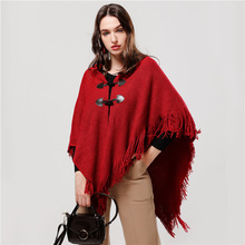 2019 Hot Women Knit Poncho Capes Cashmere Button Coats Scarf Solid Winter Think Wool Scarfs for Ladies Tassel Scarves