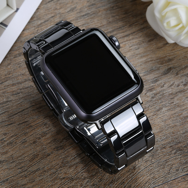 Ceramic Strap for Apple Watch Band 44mm 40mm 42mm 38mm Accessories Stainless Butterfly buckle bracelet iWatch series 6 se 5 4 3