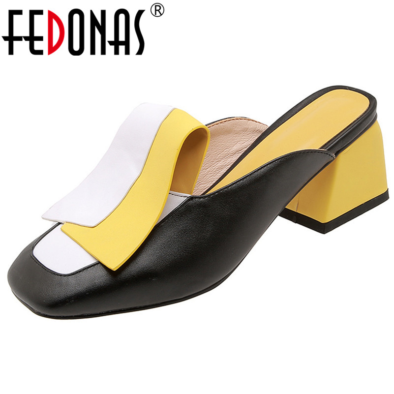 FEDONAS Fashion Mixed Colors Pu Leather Women Pumps Classic Rome Square Toe Hoof Heels Summer Sandals Mules Casual Shoes Woman