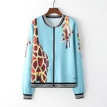 Jacket Coat Long-Sleeve Giraffe-Print Women Zip-Up Artguy Girl Contrast Cuff Sweatshirt