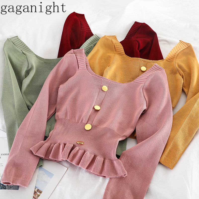 Gaganight Women Sweater 2019 Korean Version Long Sleeve Sweet Solid Short Girl Spring Autumn Knitted Pullovers Female Sweaters