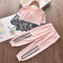 цена New Autumn 2020 Girls Children Sets Kids Casual Clothes Sport Suits Lace Kids Clothing Set Pullover and Pants 2pcs Outfit онлайн в 2017 году
